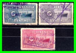 VENEZUELA 3 SELLOS AÑO 1947 FLOTA MERCANTE COLOMBIANA 5 DE JULIO 1947 - Venezuela