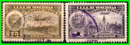 VENEZUELA 2 SELLOS AÑO 1938 LA GUAIRA PANTEON - Venezuela