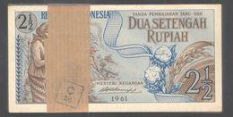 Lot 100 Pcs 1 Bundle Consecutive Indonesia 2.5 2 1/2 Rupiah 1961 UNC Clean Edge - Indonesien