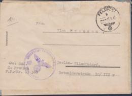 German Feldpost WW2: Reused Cover From A Sonderführer In Wirtschafts-Aussenstelle 44 FP 13368 Posted 11.8.1942 - Militaria