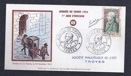 Enveloppe Federale Journee Du Timbre 1954 Troyes Signée Artiste - FDC