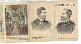 Dépliant Sur Le Comte De Paris Et Son Fils Ainé, Le Duc D' Orléans, Avec 12 Illustrations - Historical Famous People