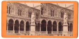 Stereo-Foto Emiliano Ferrari, Verona, Ansicht Verona, Dante-Denkmal - Stereoscoop