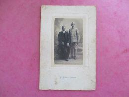 PHOTO MILITAIRE UNIFORME AVEC SON PÈRE PHOTO GALAIS 49 CHOLLET - Ancianas (antes De 1900)