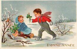 J Lagarde - Bonne Année, 2 Enfants Houx - Altre Illustrazioni