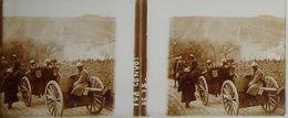Plaque De Verre Stéréoscopique Positive - Première Guerre Mondiale - Convoi De 75 Mm - Diapositivas De Vidrio