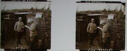 Plaque De Verre Stéréoscopique Positive - Première Guerre Mondiale - Arrivée Du Rapport Aux Tranchées - Diapositivas De Vidrio