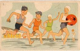 Illustrateur Georges Lang, 4 Enfant à La Plage, Colonies De Vacances - Altre Illustrazioni