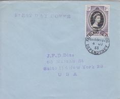 Lettre FDC Des Falkland Dependencies N° 50 (couronnement D'Elisabeth II) Obl. South Georgia Le 4 JU 53 - Falkland
