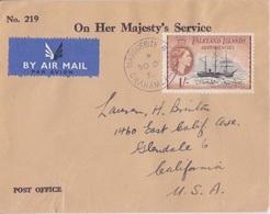 Lettre Service Des Falkland Dependencies N° 60 (navire Deutsland) Obl. Marguerite Bay Le 30 DE 56 - Falkland