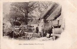 CPA, Bretagne, Petite  Ferme Animée, Très Joli Plan - Fermes