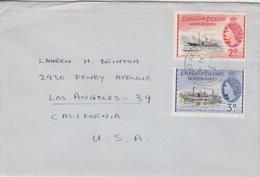 Lettre Des Falkland Dependencies N°54, 56 (navire Eagle, Discovery II) Obl. Argentine Is. Le 2 JA 57 (de La Base F) - Falkland