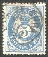690 Norvege 1877 5o Blue Cor Posthorn (NOR-251) - Usati