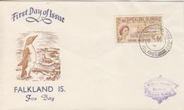 FDC (manchot) Des Falkland N° 119 (navire John Biscoe) Obl. Fox Bay Le 7 AU 55 - Falkland