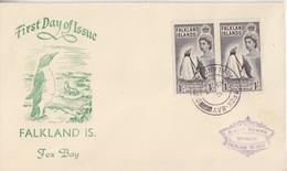 FDC (manchot) Des Falkland N° 121 X 2 (manchot Et Son Petit) Obl. Fox Bay Le 7 AU 55 - Falkland