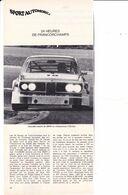 Feuillet De Magazine BMW 24 Heures De Francorchamps 1973 - Cars