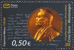 2008 The 175th Anniversary Of The Birth Of Alfred Nobel, Montenegro, MNH - Montenegro