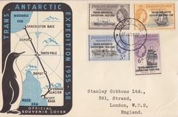 FDC Des Falkland Dependencies N° 66 à 69 (Trans Antarctic Expedition) Obl. Shackleton Le 27 Jan 57 - Falkland