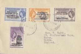 Lettre Des Falkland Dependencies N° 66 à 69 (Trans Antarctic Expedition) Obl. Spéciale AGI Le 3 Jan 58 - Falkland