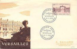 FRANCE - FDC - CACHET PREMIER JOUR CHATEAU DE VERSAILLES 20.12.1952 / 1 - FDC