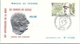 WALLIS ET FUTUNA - FDC 10e ANNIVERSAIRE MORT CHARLES DE GAULLE - MATA-UTU 9 NOV 80  / 1 - Covers & Documents