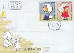 2008 FDC, EUROPA Stamps, Writing Letters, Montenegro, MNH - Montenegro