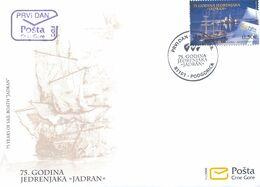 2008 FDC, Sail Training Ship, Jadran, 75th Anniversary, Montenegro, MNH - Montenegro