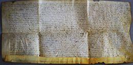 Véritable Parchemin Manuscrit Acte 17ème 1640 à Déchiffrer 50cm X 27cm - Manuscritos