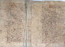 Véritable Parchemin Manuscrit Acte 16ème ? 17ème ? à Déchiffrer 31,5cm X 23,5cm Déplié - Manuscritos
