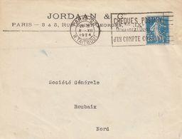 FRANCE - DEVANT DE LETTRE JORDAAN & C  - SEMEUSE 25c  PERFORE - 8.12.1924 PARIS   / 1 - Marcofilia (sobres)