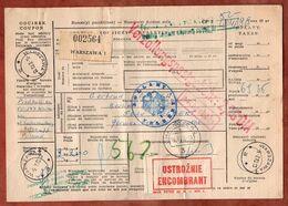 Paketkarte, Warszawa Ueber Hannover Nach Velbert 1973 (96684) - 1944-.... Republic