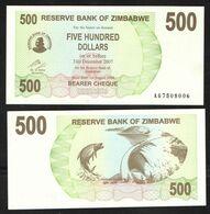 ZIMBABWE  500 $  2007  UNC - Zimbabwe