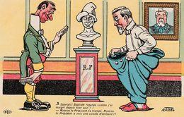 CPA Caricature Satirique Politique R. POINCARRE / A. FALLIERES Culotte Pantalon Humour Illustrateur NADAL (2 Scans) - Satiriques