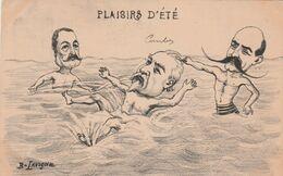 CPA Caricature Satirique Politique COMBES Baigneur Bain Bath Bather Plaisirs D' Eté Illustrateur B. LAVIGNE (2 Scans) - Satiriques