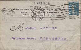 FRANCE - LETTRE L'ABEILLE AVEC CORRESPONDANCE 19.3.1924  - SEMEUSE 25c PERFORE  / 1 - Marcofilia (sobres)