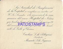 140279 ARGENTINA LA SOCIEDAD DE BENEFICIENCIA INAUGURACION HOSPITAL DE NIÑOS INVITACION NO POSTAL POSTCARD - Andere Sammlungen