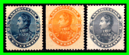 VENEZUELA 3 SELLOS AÑO 1893 SIMON BOLIVAR - Venezuela