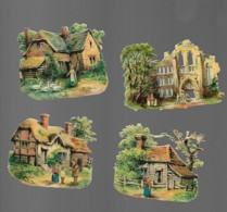 4 Découpis  Paysages Ferme HOLYROOD  EDINBURGH  DOS VIERGE 7 Cm Environ 17 - Other
