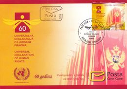 2008, FDC, The 60th Anniversary Of The Universal Declaration Of Human Rights, Montenegro, MNH - Montenegro