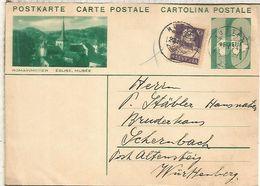 SUIZA ENTERO POSTAL ROMAINMOTIER IGLESIA MUSEO CHURCH MAT 1934 HUTTEN - Chiese E Cattedrali