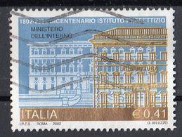 """Italia 2002 Uf. 2671 """"Istituzioni : Ministero Dell'interno, Istituto Prefettizio """" - Viaggiato Used - 2001-10: Usati"""
