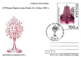 POLONIA POLSKA - 1991 OLSZTYN Visita Pope Papa GIOVANNI PAOLO II - Fonte Battesimale Su Cartolina Postale CP - 2192 - Päpste