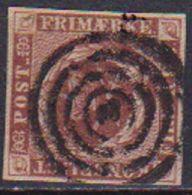 DANIMARCA 1854-63 STEMMA FONDO PUNTEGGIATO UNIF. 4 USATO VF - 1851-63 (Frederik VII)