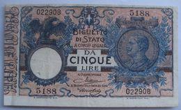 5 / Cinque Lire 1923 (WPM 23f) - [ 1] …-1946 : Royaume