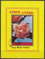 1972 Ajman RED ROSES Souvenir Sheets Perforated Used - Ajman