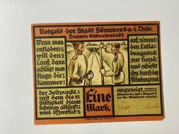 Allemagne Notgeld Sommerda 1 Mark - [ 3] 1918-1933 : Weimar Republic