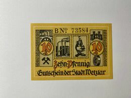 Allemagne Notgeld Wetzlar 10 Pfennig - [ 3] 1918-1933 : Weimar Republic