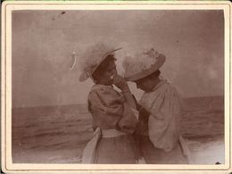 ! 2 Alte Fotos Auf Hartpappe, Photos, Strand Zoppot, Danzig, 1895 - Danzig