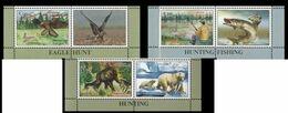 Tajikistan 2020 Hunting Animals Bear Birds Fish 3 V+label Right MNH - Félins