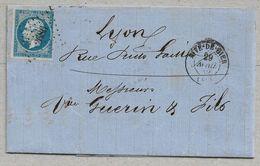 14/3 - Yvert 14 Lettre De RIVE-DE-GIER Petits Chiffres 2686 (belle Frappe) Du 29 AVRIL 1859 Pour LYON Arrivée 29.4.59 - 1853-1860 Napoléon III